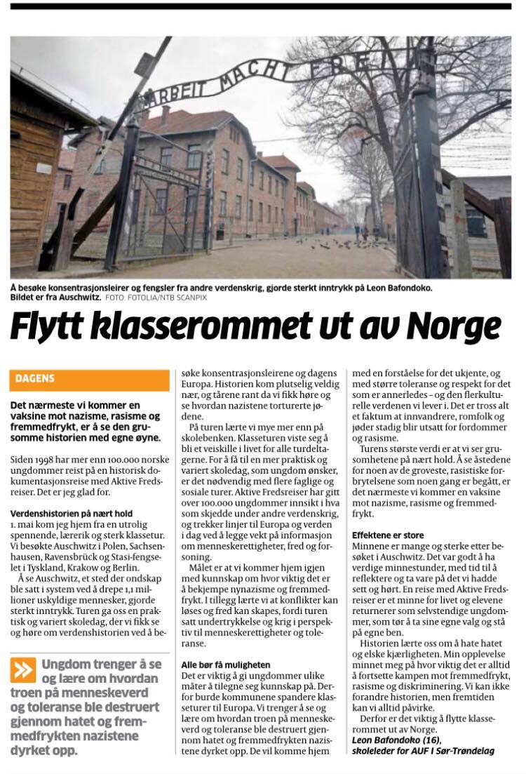 Flytt klasserommet ut av Norge. Skjermdump